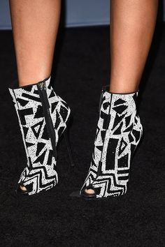 Pin for Later: Proof That the Best Award Show Accessory Isn't Always a Trophy  Nicki Minaj's black-and-white, geometric peep-toe booties were like a work of art.