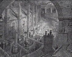 "Gustave Dore's ""Over London by Rail."" #architecture #London #Victorian"