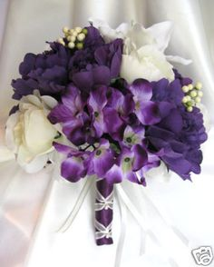 Wedding Bouquet Bridal Silk Flowers Purple Ivory Cream Lily 10pc Package Groom | eBay