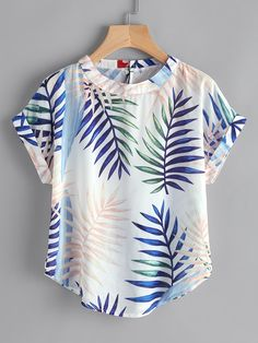 Shein Random Leaf Print Curved Hem Cuffed Blouse Source by magda_py blouses style Girls Fashion Clothes, Girl Fashion, Fashion Outfits, Kurta Designs Women, Blouse Designs, Classy Outfits, Cute Outfits, Mode Kimono, Cute Blouses