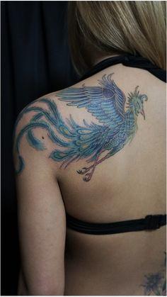女性,背中,鳳凰のタトゥーデザイン|タトゥーナビ