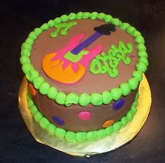 neon electric guitar cake