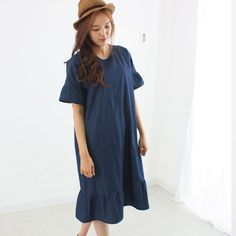 Womens Lady Cotton Blue Drees Lace Casual Loose Pit Short Sleeve Plus Hand Made #Lavendermom #MaxiShirtDress #fontfontfontfont