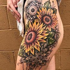 Side Thigh Tattoos, Wrist Tattoos, Back Tattoos, Sleeve Tattoos, Small Tattoos, Sunflower Mandala Tattoo, Sunflower Tattoo Thigh, Sunflower Tattoo Design, Hip Tattoos Women