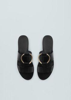 Appliqué leather sandals - Shoes for Women Justin Boots, Shoes Flats Sandals, Shoe Boots, Flat Sandals, Gladiator Sandals, Mango, Valentino Rockstud, Dream Shoes, Leather Flats