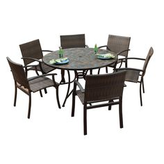 Stone Harbor Large Round Dining Table and Newport Arm Chairs 7-piece Outdoor Dining Set - Overstock™ Shopping - Big Discounts on Dining Sets