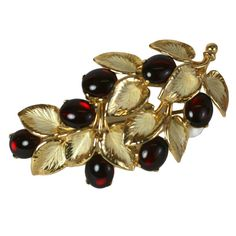 Schiaparelli Berry Branch Brooch | See more rare vintage Brooches at https://www.1stdibs.com/jewelry/brooches/brooches