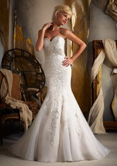 Mori Lee 1903 Embroidered Appliques on Net with Satin Empire