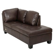 Noble House - Fayette L-Shaped Faux Leather Sectional Sofa With Ottoman - Brown