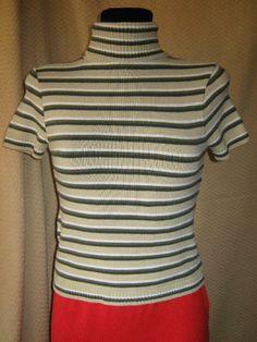 NEU* Weicher * Designer * Kurzarm * Rollkragen- Streifen * Pullover Gr. 34- 36/ XS- S, khaki- nude*