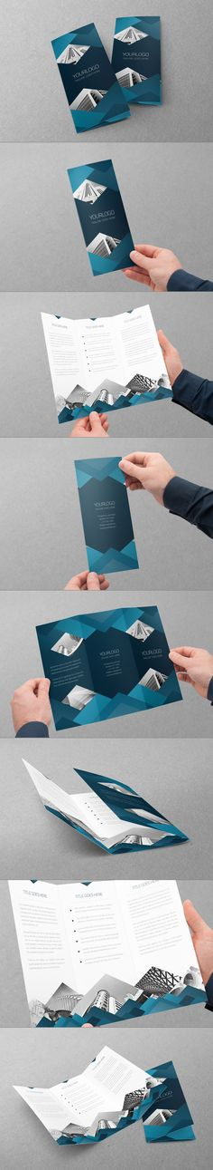 Blue Architecture Trifold by Abra Design, via Behance #layout #design #brochure