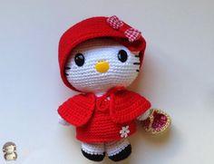 Hello Kitty Caperucita Roja Amigurumi, Patrón Gratis  ༺✿Teresa Restegui http://www.pinterest.com/teretegui/✿༻