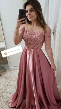 Off Shoulder Long Satin Lace Prom Dress with Beadings Custom Made Beaded School . - Off Shoulder Long Satin Lace Prom Dress with Beadings Custom Made Beaded School Dance Dresses Fahion Long Graduation Party Dresses Source by amel_fahmi - Fancy Prom Dresses, Formal Evening Dresses, Pretty Dresses, Homecoming Dresses, Beautiful Dresses, Teen Graduation Dresses, Pink Evening Dress, Formal Dresses With Sleeves, Graduation Parties