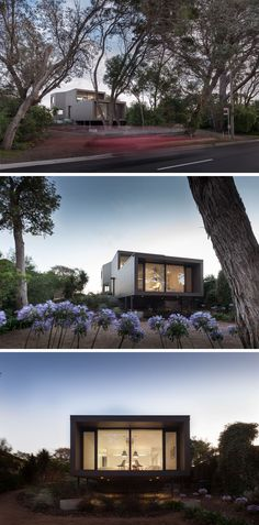 This modern elevated two-storey house is discreet in it's foot-print, with the majority of the site remaining untouched allowing for vegetation to grow naturally.