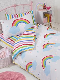 The Rainbow Sky Single Duvet Cover Set offers a stylish weather themed bedding set for your little ones bedroom or nursery. Free UK delivery available. Comforter Cover, Duvet Bedding, Duvet Cover Sets, Rainbow Bedding, Rainbow Bedroom, Double Duvet Covers, Single Duvet Cover, Bedroom Themes, Kids Bedroom