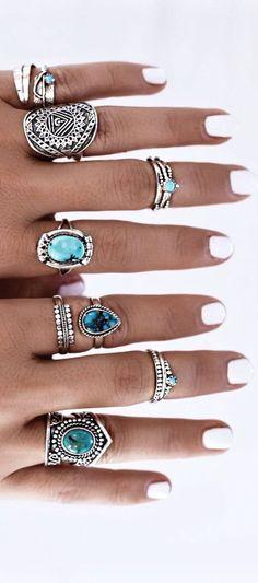 Ethnic Jewelry – Hippie / Bohemian – Turquoise Ring - new season bijouterie Cute Jewelry, Jewelry Rings, Jewelry Accessories, Jewlery, Cheap Jewelry, Jewelry Box, Bling Jewelry, Jewelry Making, Arrow Jewelry