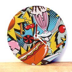 Retro Wall Clock - Analog Clock - Retro Home Decor - Kitchen Clock - Kitchen W-all Art - Pop Art Print - Kitsch Ornament