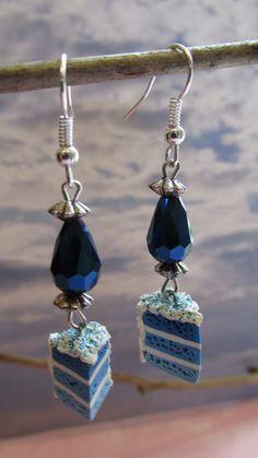 Blue Ombre Cake Slice Earrings on Etsy, $16.00