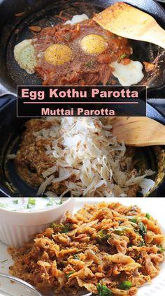 Egg Kothu Parotta, a delicious parotta recipe made with minced parotta and eggs Sweets Recipes, Egg Recipes, Healthy Recipes, Egg Masala, Garam Masala, Masala Spice, Red Chili Powder, Coriander Leaves, Breakfast Menu