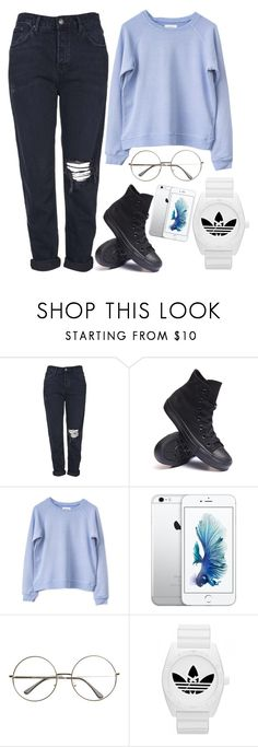 """fave so far"" by kristinacason ❤ liked on Polyvore featuring Topshop, Converse and adidas"