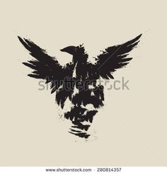 abstract black raven illustration with the wings - stock vector