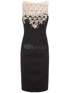 Séduisante robe bodycon noire de col bateau bicolore brodée effet décolleté - Milanoo.com
