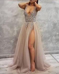 Sexy Long Prom Dress with High Slit, School Outfit, Short Prom Dresses For Teens pst1682
