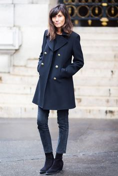 black jeans and black coat