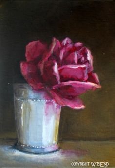 Red Rose painting hp original flower floral in silver julep cup Treasury Item still life art free shipping USA