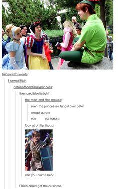 Aurora and Phillip ; Funny Disney Jokes, Disney Memes, Disney Parks, Funny Jokes, Disney Cast, Disney Magic, Disney And Dreamworks, Disney Pixar, Peter Pan Disneyland