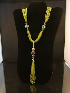 Purple and Lime Long Tassle Necklace by Vivant