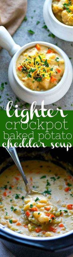 A lighter and easier spin on a comfort food classic! This creamy baked potato cheddar soup makes itself in the crockpot and it's going to quickly become a dinner staple in your house!
