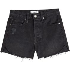Frame Denim Le Cutoff Tulip Denim Shorts (870 BRL) ❤ liked on Polyvore featuring shorts, bottoms, pants, black, denim shorts, cut-off shorts, tulip shorts, short cut off jean shorts and summer shorts