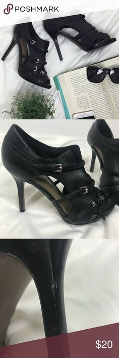 """Zara Strappy Buckle Heels Genuine Leather 4.5"""" heel height 
