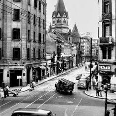 Avenida Ipiranga e o Largo de Santa Ifigênia, 1957 São Paulo, Brasil