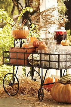 Fall wedding drink station