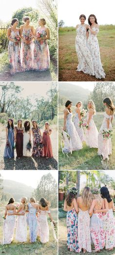 floral printed bridesmaid dress for boho weddings