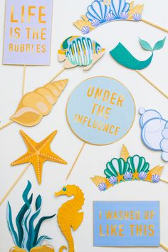 MERMAID THEMED PHOTO BOOTH PROPS PARTY UNDER THE SEA PRINTABLE DOWNLOAD | Bespoke-Bride: Wedding Blog
