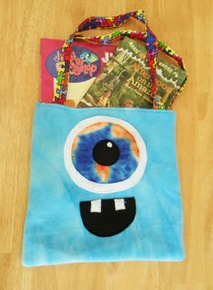 Monster trick or treat tote! Also works as a book tote for library books, an overnight bag and more!