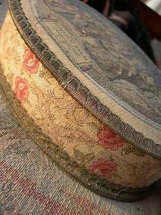 Divine antique vintage French chocolate trinket box w. gold metallic thread trim in Antiques Vintage Candy, Vintage Box, French Vintage, Fabric Covered Boxes, Fabric Boxes, Shabby Boxes, French Chocolate, French Fabric, Old Boxes