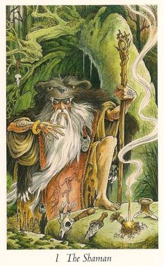 "THE SHAMAN  ""My essence or essential energy is primary and primal, masterful and magical. I walk between worlds and I travel through time. My tools are a roebuck skull rattle (Air), a stone knife (Earth), a smoking bundle (Fire), and a hollow antler-tine cup (Water). I reach into levels of consciousness that defy human understanding. I use my magic with intent. I bring inner working and meditation to life in the physical world as I apply wisdom from the otherworld to everyday reality."""