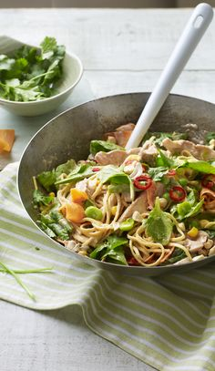 Whip up an easy, peanutty noodle stir-fry with store cupboard ingredients. From Eat Well for Less! Bbc Good Food Recipes, Diet Recipes, Chicken Recipes, Cooking Recipes, Healthy Recipes, Tasty Meals, Chicken Satay, Whole Food Diet, Healthy Cooking