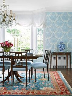 """thefoodogatemyhomework: Love the """"Lotus"""" wallpaper by Farrow & Ball, especially in this blue colorway (usually you only see the taupe). Especially nice against the turquoise and rich red Persian rug."""