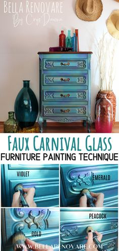 Faux Carnival Glass Furniture Painting Technique Bella Renovare Colorful Painted Furniture Tutorials - Have you ever seen carnival glass? Well, I have figured out how to get a faux carnival glass look o - Funky Painted Furniture, Glass Furniture, Chalk Paint Furniture, Colorful Furniture, Furniture Decor, Furniture Design, Paint Ideas For Furniture, Repurposed Furniture, Coaster Furniture