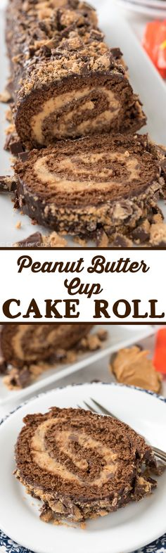 Peanut Butter Cup Cake Roll - elegant dessert that is actually an easy recipe to make! Chocolate cake filled with peanut butter cup filling - the perfect dessert!