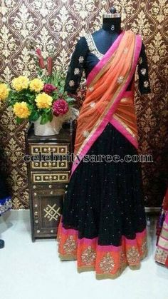 Black and Peach Half Saree | Saree Blouse Patterns