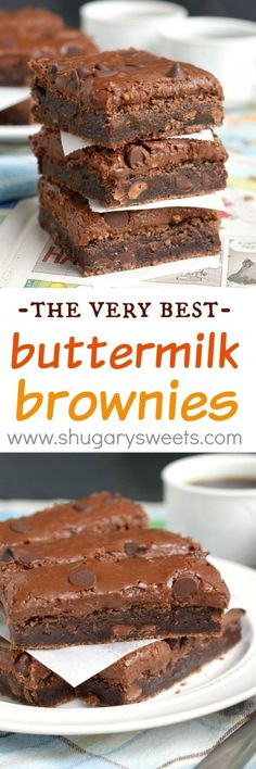 Rich, fudgy, thick, and decadent Buttermilk Brownies loaded with chocolate chips and topped with Chocolate Buttermilk Frosting. There is no doubt these are the best brownies ever!!