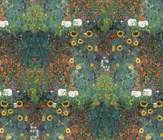 Blooming Garden ~ Klimt  fabric by peacoquettedesigns on Spoonflower - custom fabric