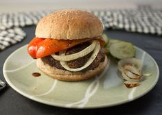grilled portobello mushroom burgers with grilled peppers and Cheddar (and caramelized onions! Portobello Mushroom Burger, Grilled Portobello, Grilled Peppers, Stuffed Mushrooms, Stuffed Peppers, Delicious Burgers, Sugar Free Recipes, Food Dishes, Cooking Recipes