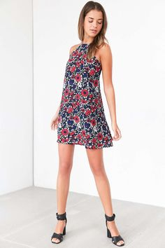Lucca Couture Floral High-Neck Frock Dress